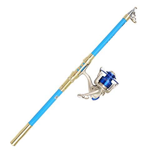NYKK Angelrute Blau Teleskop tragbar Angelrute Kit Carbon-Faser-Fischerei-Pole und Reel Combo for Angler Sea Fliegenfischer Rod & Reel Combos (Größe : 3.6m)