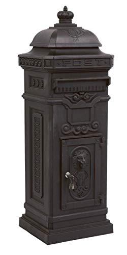 Casa Padrino Standbriefkasten Antik Jugendstil Mod6 Briefkasten Postkasten Alu - Anthrazit - Säulenbriefkasten - Englischer Briefkasten - Nostalgie