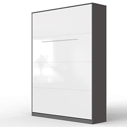 SMARTBett Standard 140x200 Vertikal Anthrazit/Weiss Hochglanzfront Schrankbett   ausklappbares Wandbett, ideal geeignet als Wandklappbett fürs Gästezimmer, Büro, Wohnzimmer, Schlafzimmer