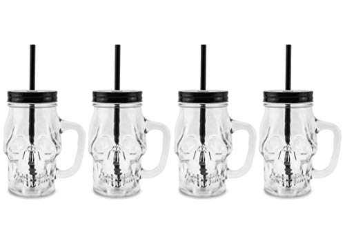 Darware Skull Mason Jar Glasses with Straws (Set of 4); Clear 12oz Glass Mugs with Reusable Straws