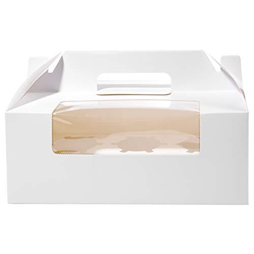 Cajas para Cupcakes, Vordas 12PCS Muffin Cupcake Boxes for 6 Cupcake, Perfecto para Decorar Pasteles y Ilevar Pasteles a Tus Amigos - Blanco
