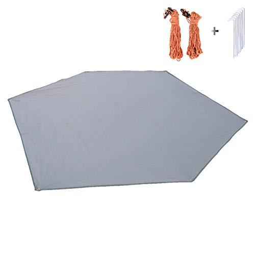 Azarxis Tarp Hexagonal Bâche de Camping Tapis de Sol Abri de Soleil Couverture Protection Parasol pour Hamac Auvent Plage Pique-Nique (Gris + Accessoires, XL)