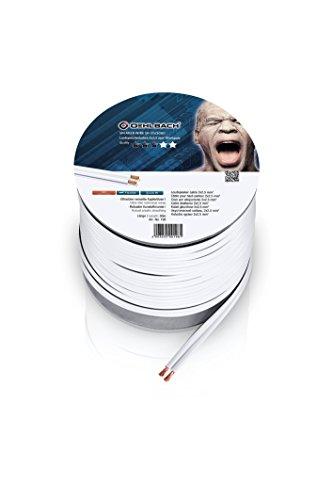 Oehlbach Speaker Wire SP-25 - Stereo HI-FI Lautsprecherkabel, Boxenkabel mit OFC (sauerstofffreies Kupfer) 2x2,5 mm² Mini Spule Lautsprecher Kabel - Weiß 30 Meter
