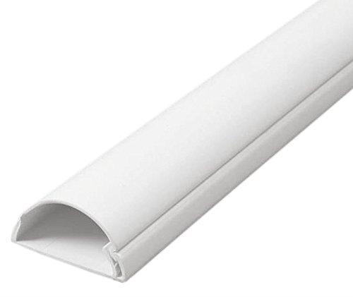 TV halbrunder Kabelkanal | Kabelabdeckung | 30x15 mm, 0.5 m Länge - Weiß