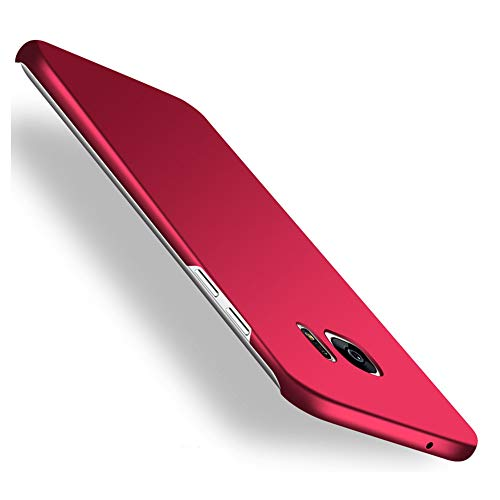 Galaxy S7 edge Case,Heyqie[SKIN TOUCH FEEL] Ultra-thin Metallic Texture Anti-fingerprint/skid/fade PC Back Protective Phone Cover Case for Samsung Galaxy S7 Edge G9350 - Red