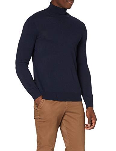 Marca Amazon - MERAKI Jersey de Merino Hombre Cuello Alto, Azul (Navy), M, Label: M