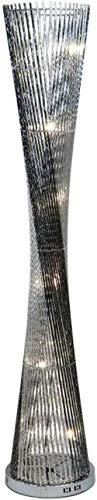Lámpara de pie Lámpara de pie de Prisma Trenzado de Aluminio y Alambre Tejido LED con vástagos Plateados-Interruptor de pie A Excellent