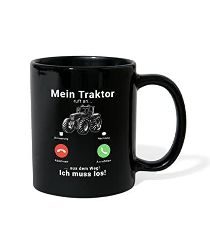 Spreadshirt Mein Traktor Ruft An Aus Dem Weg Ich Muss Los Tasse einfarbig, Schwarz