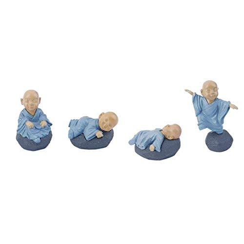 QWERWEFR 4 Stücke Chinesischen Mönch Miniatur Bonsai Gartenmöbel Harz Handwerk Statue Micro Landschaft Dekoration Cartoon Kleiner Mönch,Blue
