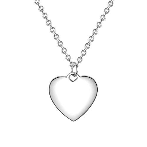 Glanzstücke München Damen-Kette mit Herz-Anhänger zum Gravieren Sterling Silber 40 cm + 5 cm Verlängerung - Herz-Kette personalisiert Geschenk zum Valentinstag