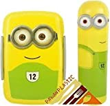 Pawan Plastic Clip Lock and Fit Gift Set of Minion Printed Lunch Box