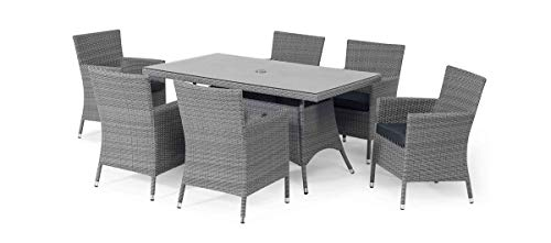 Maze Rattan, Fenetti, Ibiza, 6 Seater, Rectangular Dining Set with Carver Chairs, Grey