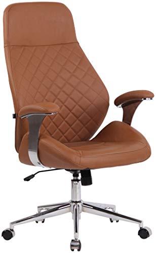 CLP Krzesło biurowe Layton z lekkobieżnymi kółkami   Fotel szefa z oparciem   regulowany ergonomiczny fotel biurowy, kolor: jasnobrązowy, materiał: prawdziwa skóra