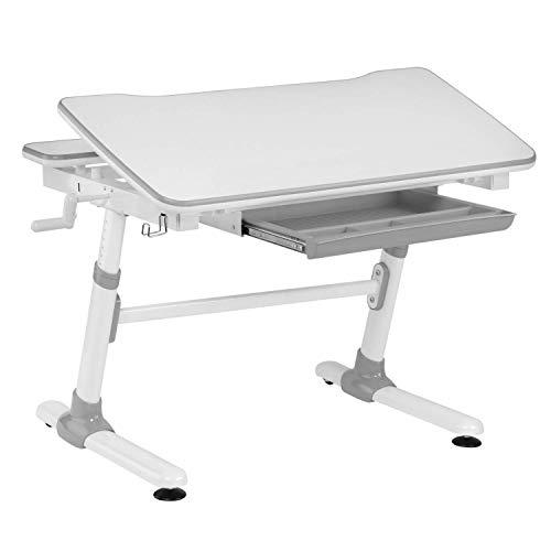 HOKO® Ergo-Work-Table Study COMPAKT. Manuell höhenverstellbar Kinder-Schreibtisch mit Verstellbarer Tischplatte, Weiß. Ergonomisches Sitzen für Kinder