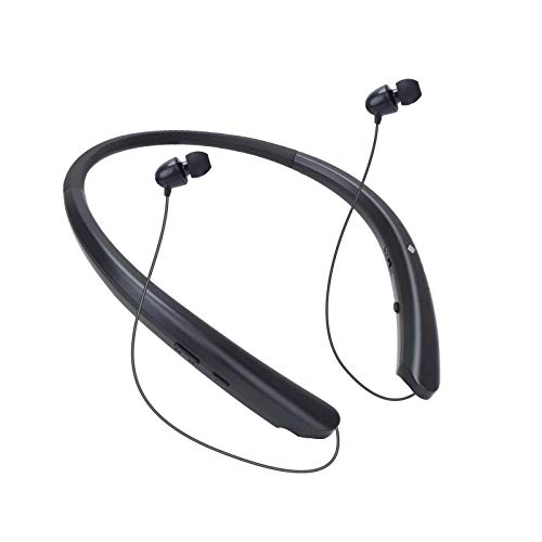 Bluetooth Headphones, Wireless Earbuds Retractable Headsets Neckband Stereo Sports Noise Canceling Earphone with Mic Compatible with iPhone Samsung Android by HaoHiyo (15 Hours Playtime) (Black)