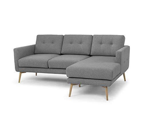 Amazon Marke -Movian Buran - 3-Sitzer Ecksofa, 204 x 153 x 86cm, Grau