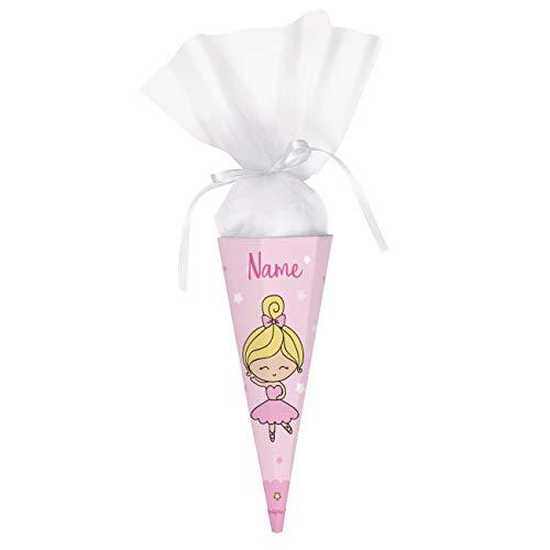 Striefchen® Schultüte für Mädchen mit Namen - Ballerina - perfekt zur Schuleinführung - eckig 28 cm
