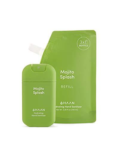 HAAN Desinfectante de Manos   DISPENSADOR en Spray (30 ml) + BOLSA DE RECARGA (100 ml)   Desinfectante Hidratante con Aloe Vera   Antiséptico   MOJITO SPLASH