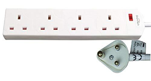 ShaniTech 4-Gang-Reiseadapter-Verlängerungskabel mit Power-Licht, 1 m, leicht, für Indien, Pakistan, Sri Lanka, Nepal, Namibia, Steckdosenleiste mit 4 Steckdosen, Weiß