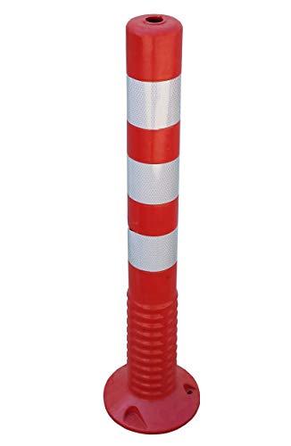 SNS SAFETY LTD Verstärkte Kunststoffpfosten 75 cm, mit Reflektierenden, für die Verkehrssicherheit, aus Flexiblen Polyurethan, Rot (1 Stück)
