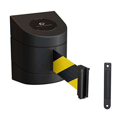 CCW Series WMB-230 Fixed Wall Mount Retractable Belt Barrier with ABS Case (30 Foot, Black and Yellow Safety Belt with Black ABS Case)