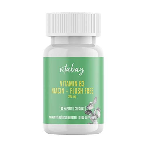 Vitabay Vitamin B3 Niacin Flush gratis - 500 mg - 90 cápsulas vegetales