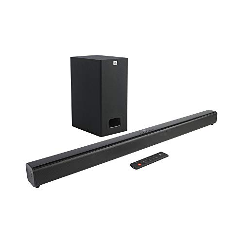 JBL Cinema SB231, 2.1 Channel Dolby Digital Soundbar with Wired Subwoofer for Deep Bass, Home Theatre with Remote, HDMI ARC, Bluetooth & Optical Connectivity (110W)