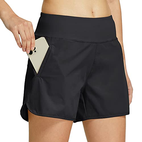 Willit Womens 4' Running Shorts Active Hiking Workout Shorts with Liner Quick Dry Sports Athletic Shorts Zipper Pocket Black L