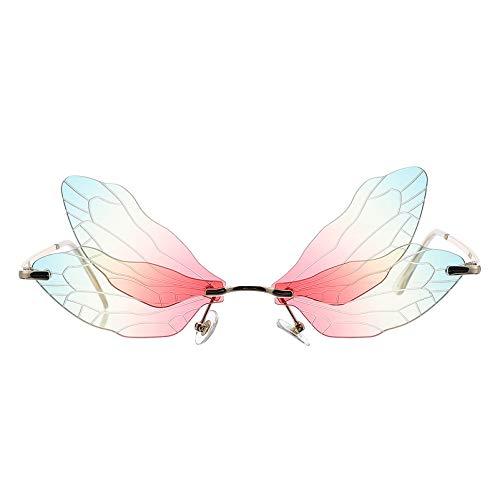 LUOEM Randlose Sonnenbrille Libellenflügel Unregelmäßige Neuheit Flügel Partybrille Bunt Unisex Mode Sonnenbrille Party Maskerade Karneval Musikfestival Kostüm Zubehör Foto Requisiten