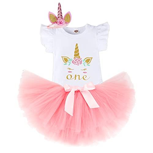 Bebé Niñas Unicornio Es mi Primer Cumpleaños Niña Trajes Conjuntos Princesa Vestido Tutu 3 Piezas Mameluco + Falda + Conjuntos con Diadema de Unicornio y Mameluco y Faldas