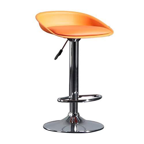 LXYPLM Taburete Cocina Bar Inicio giratoria Ajustable sillas de la Barra del Asiento, Pub Contador Metal Ocio taburetes Altos con Cromo reposapiés y la Base Taburetes (Color : Orange)