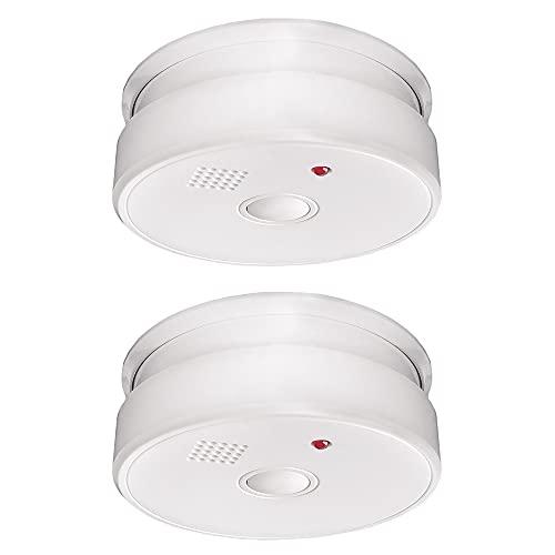 IC ICLOVER Rauchmelder/Feuermelder Vernetzt, Austauschbarer 5 Jahre Batterie Rauchwarnmelder Brandmelder mit Garantie/DIN EN14604 Weiß, 2 Stück