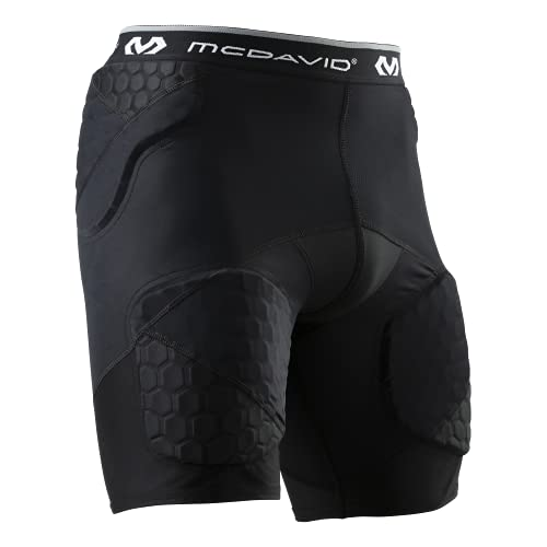 McDavid Compression HEX Padded Girdle Shorts. for Football and Other Sports. Protective Pads on Hips, Thighs and Tailbone. Integrated Cup Pocket. Youth and Adult Black