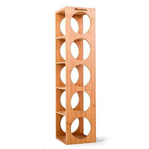Quttin - Botellero de bambú 5 cavidades, Talla única 53 x 13 x 13,5 cm. Estante, Soporte de Madera con 5 baldas para Botellas de Vino, champán. Estantería, Organizador de Bebidas para Cocina (1) ⭐