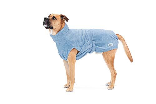 Lill's Hundebademantel, 100% Bio-Baumwolle, Organic Ocean Blue (Blau) (L)
