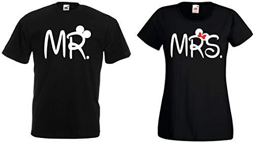 TRVPPY Partner Herren + Damen T-Shirt Set Mister & Misses - Mr. & MRS, Herren L, Damen M, Schwarz