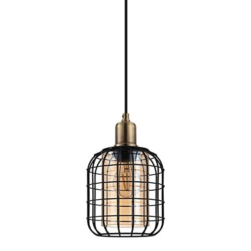 EGLO Lampadario a sospensione Chisle, 1 luce, lampada a sospensione moderna, in metallo nero e vetro vaporizzato color ambra, lampada da tavolo da pranzo, lampada da soggiorno con attacco E27