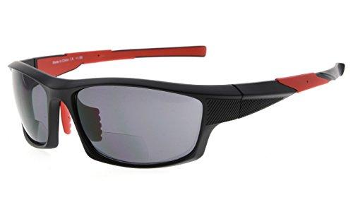 Eyekepper TR90 deportes bifocales gafas de sol béisbol Correr Pesca conducción Golf Softbol senderismo lectors (Negro Marco Rojo Templo, 2.50)