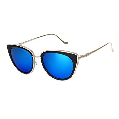 Dames Cat Eye zonnebril Mode-stijl Reflecterende spiegel Zonnebril Metalen frame PC-lens UV400 Match Afslankend glas Zilver & blauw