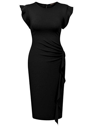 Miusol Rundhals Abendkleid mit Falte Etuikleid Knielanges Kleid - 5