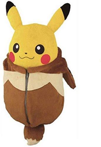 EREL Weiches Spielzeug Nette Pikachu Puppe Plüsch Spielzeug Schlafsack Pikachu Puppe Umgewandelt in Ibrahimovic Halloween Geburtstagsgeschenk 22cm dedu