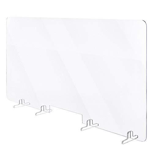 Plexiglass Protection Bureau Transparent- Plaque plexiglas avec supports stabilisateurs et Ouverture passe-documents, Protection Plexiglass Accueuil et Comptoir (120x60)