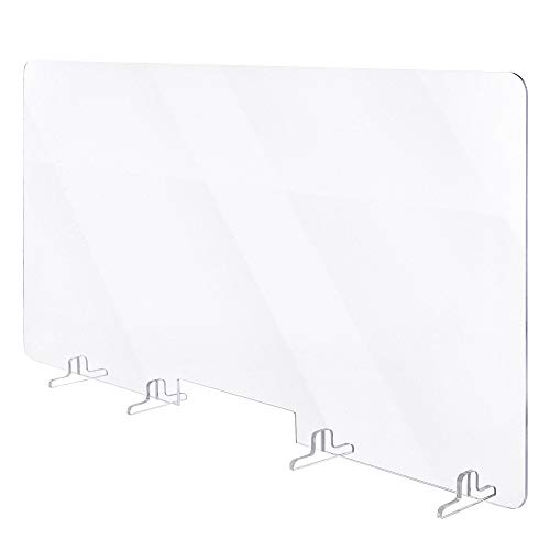 Plexiglass Protection Bureau Transparent- Plaque plexiglas avec supports stabilisateurs et Ouverture passe-documents, Protection Plexiglass Accueuil et Comptoir (120x60)