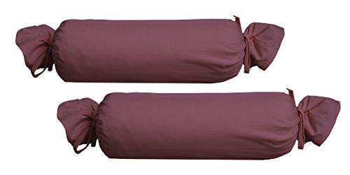 biberna 0077144 Feinjersey Bettwäsche Nackenrollenbezug (Baumwolle) 2x 15x40 cm, brombeer