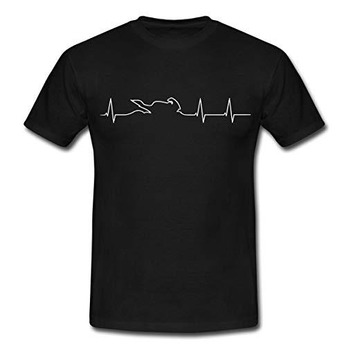 Motorrad Biker Herzschlag EKG Linie Mit Bike Männer T-Shirt, XL, Schwarz