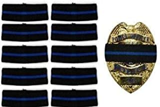 20-PACK Thin Blue Line Stripe Black Police Officer Badge Shield Funeral Honor Guard Mourning Band Strap 3/4
