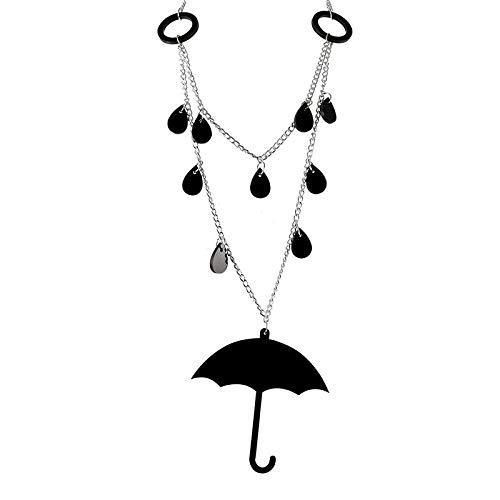 Anhänger Halskette Schmuck Halskette Acryl Schwarz Regenschirm Anhänger Halskette Persönlichkeit Wassertropfen Frauen Halsreif Halskette