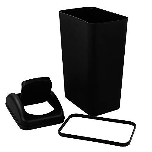 Ordate 14 l Mülleimer Abfallsammler Müllbehälter Abfalleimer Schwingdeckel, Black, 1 Packung
