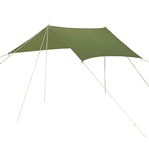 KLFSJD Hamaca de lluvia con mosca, lona portátil, ligera, impermeable, resistente al viento, a prueba de nieve, para camping, senderismo, viajes, deportes al aire libre (300 x 300 cm), color verde