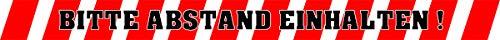 Stickers Gelieve afstand te houden! - Waarschuwingsbalken wit/rood voor vloerbedekking 50 x 4 cm